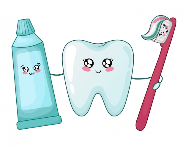 Kawaii gesunder zahn und zahnpasta und bürste Premium Vektoren