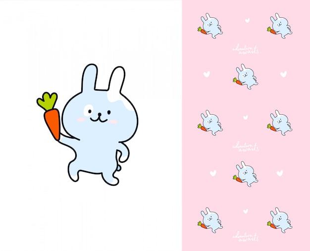 Kawaii hase mit karotte. muster mit kaninchen Premium Vektoren