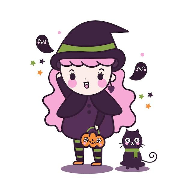 Kawaii hexenmädchen, das kürbiseimer mit katze hält Premium Vektoren