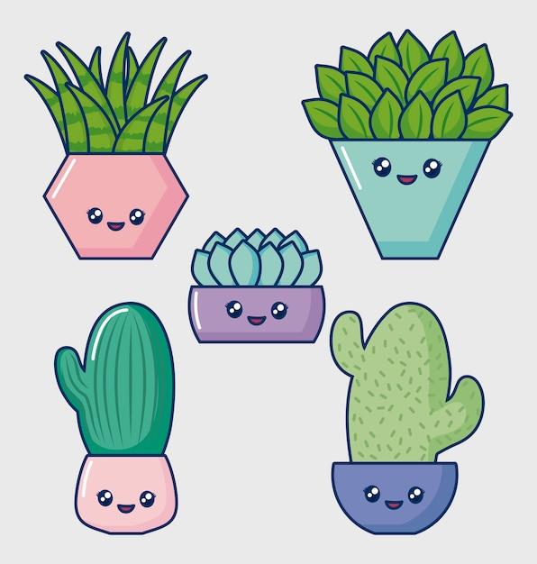 Kawaii kaktus-icon-set Kostenlosen Vektoren