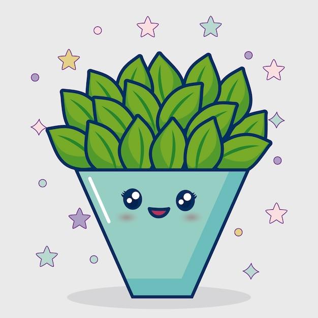 Kawaii kaktus-symbol Kostenlosen Vektoren