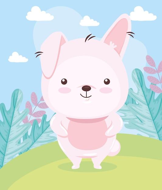Kawaii kaninchen tierkarikatur auf landschaftsillustration Premium Vektoren