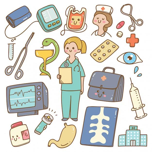 Kawaii karikaturdoktor mit medizinischer ausrüstung Premium Vektoren