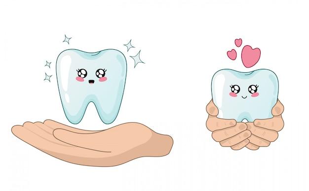 Kawaii karikaturzahn und peaple hände - zahnpflege und schutz Premium Vektoren