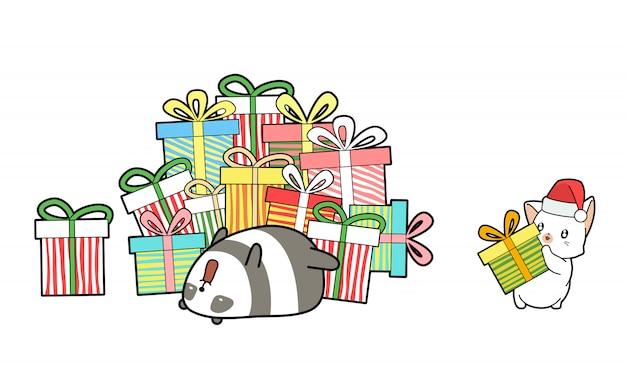 Kawaii katze geben dem panda ein geschenk Premium Vektoren