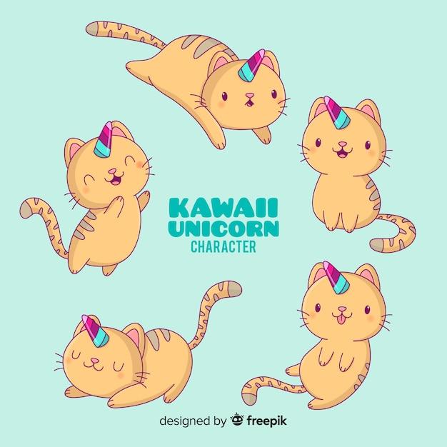 Kawaii katzen-einhorn-charaktersammlung Kostenlosen Vektoren