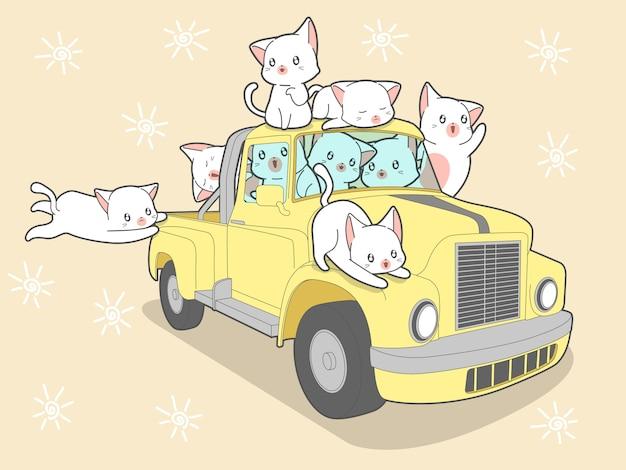 Kawaii katzen mit auto in den sommerferien. Premium Vektoren