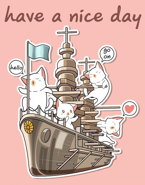 Kawaii katzen mit dem kriegsschiff Premium Vektoren