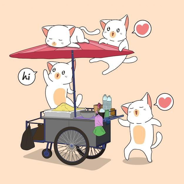 Kawaii katzen und tragbarer stall Premium Vektoren
