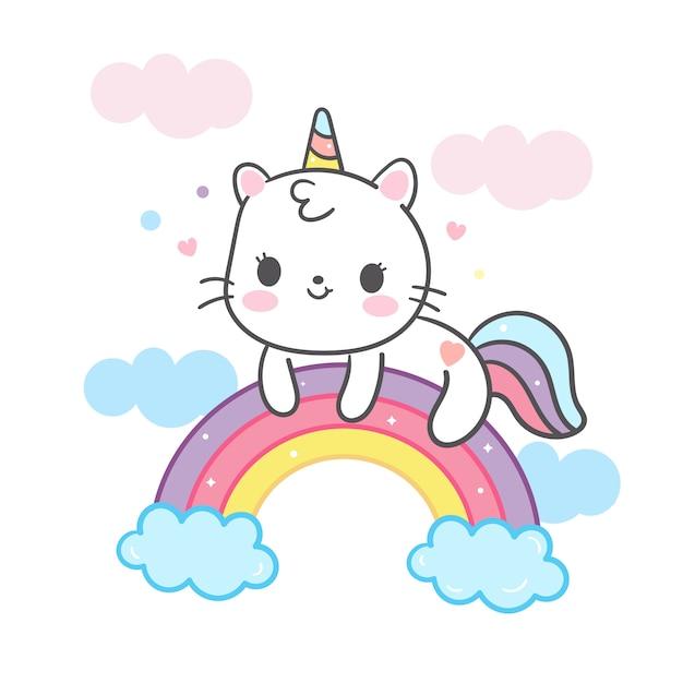 Kawaii katzenkarikatur im einhorn auf regenbogen Premium Vektoren