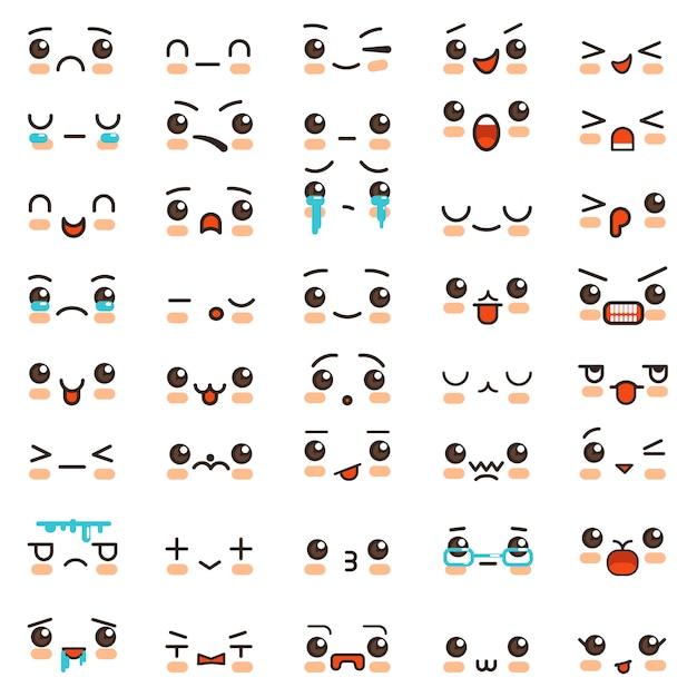 Kawaii-lächelnkarikatur emoticons und emoji stellt vektorikonen gegenüber Premium Vektoren