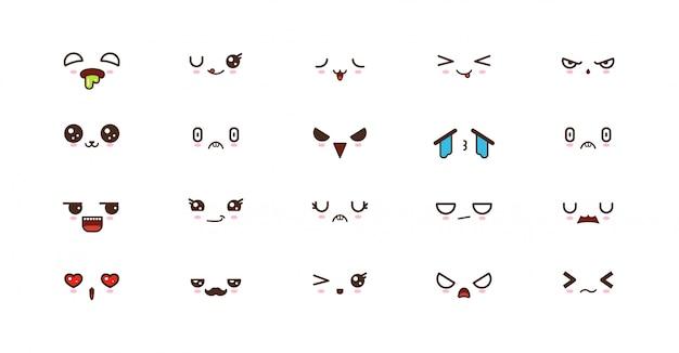 Kawaii lächelt emoticons. japanisches emoji Premium Vektoren