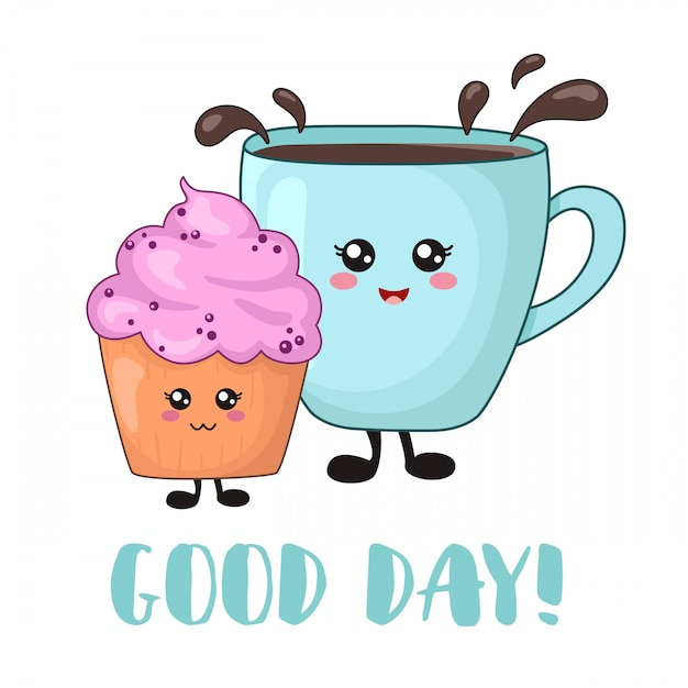 Kawaii lebensmittel der karikatur zum frühstück mit blaubeerkuchen und teekaffee Premium Vektoren