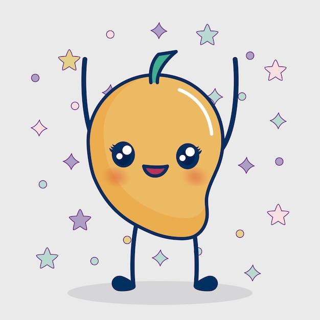 Kawaii mango-symbol Kostenlosen Vektoren