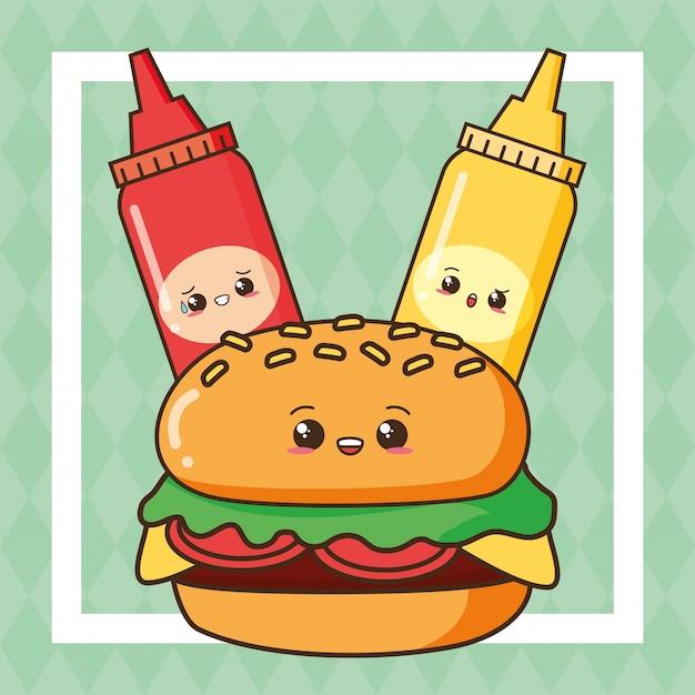 Kawaii netter hamburger des schnellimbisses mit ketschup und senf Kostenlosen Vektoren