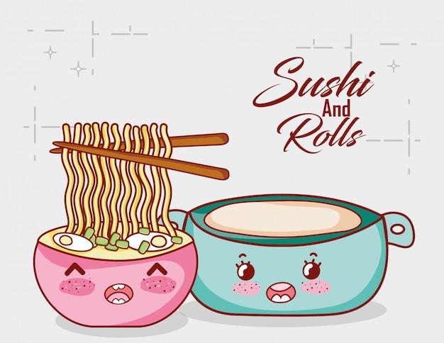 Kawaii nudeln in suppe und pot food japanischen cartoon, sushi und brötchen Premium Vektoren