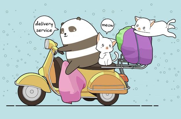 Kawaii panda fährt ein motorrad mit 2 katzen zum lieferservice Premium Vektoren