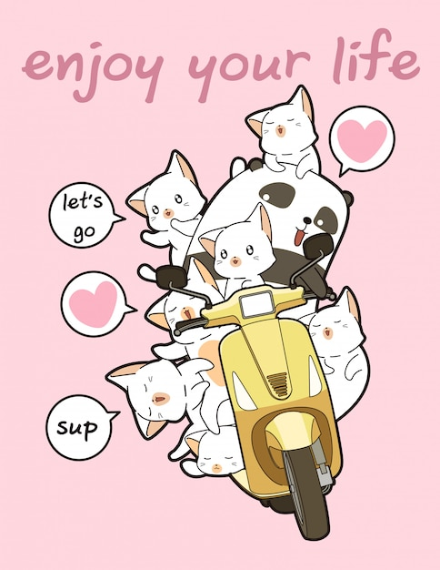 Kawaii panda fährt motorrad mit freunden Premium Vektoren