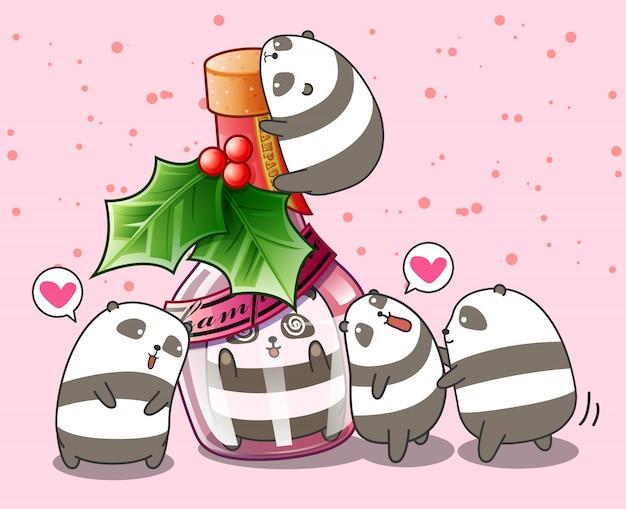 Kawaii panda in der flasche und freunde Premium Vektoren
