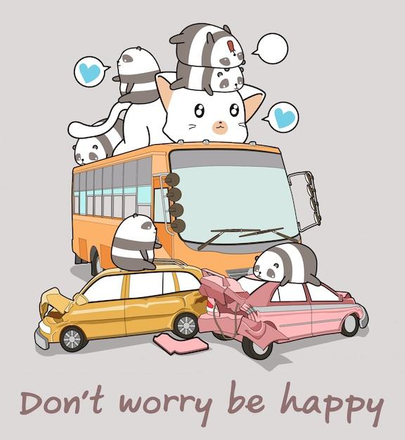 Kawaii pandas und riesenkatze im autounfall Premium Vektoren