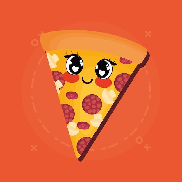 Kawaii Pizza Symbol Premium Vektor