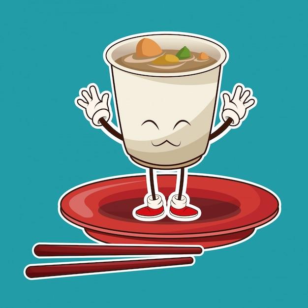 Kawaii ramen suppe orientalisches essen japanische platte und chop sticks Premium Vektoren