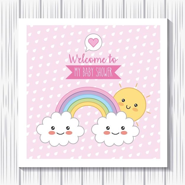 Kawaii regenbogen wolken sonne willkommen baby-dusche-poster Premium Vektoren