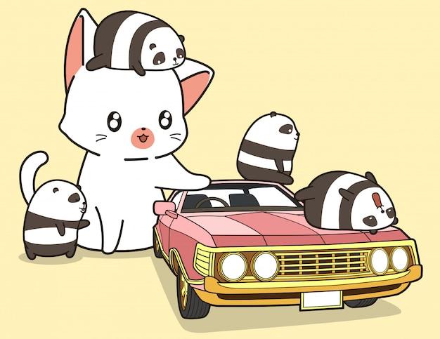 Kawaii riesenkatze und kleine pandas mit rosa auto. Premium Vektoren