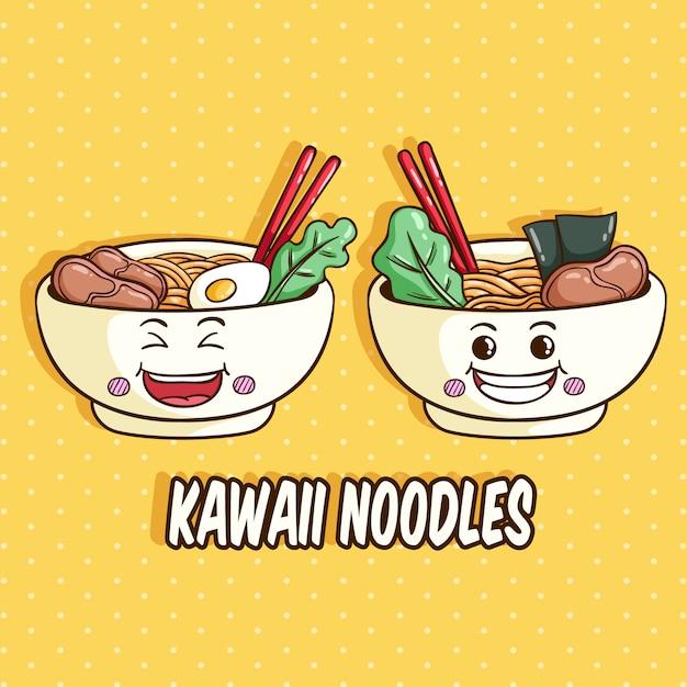 Kawaii schüssel nudelcharakter mit lustigem gesicht oder ausdruck Premium Vektoren