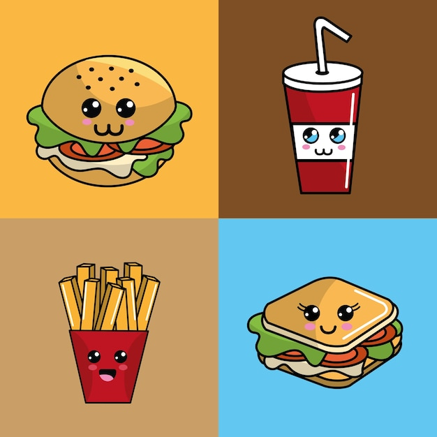 Kawaii set fast-food-symbol adorable ausdruck Premium Vektoren