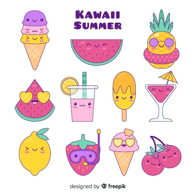 Kawaii sommer charakter sammlung Kostenlosen Vektoren