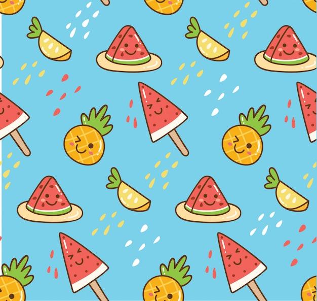 Kawaii sommerhintergrund mit wassermelone und ananas Premium Vektoren