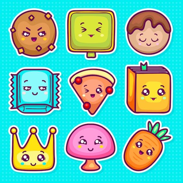 Kawaii sticker icons hand gezeichnete doodle färbung Premium Vektoren