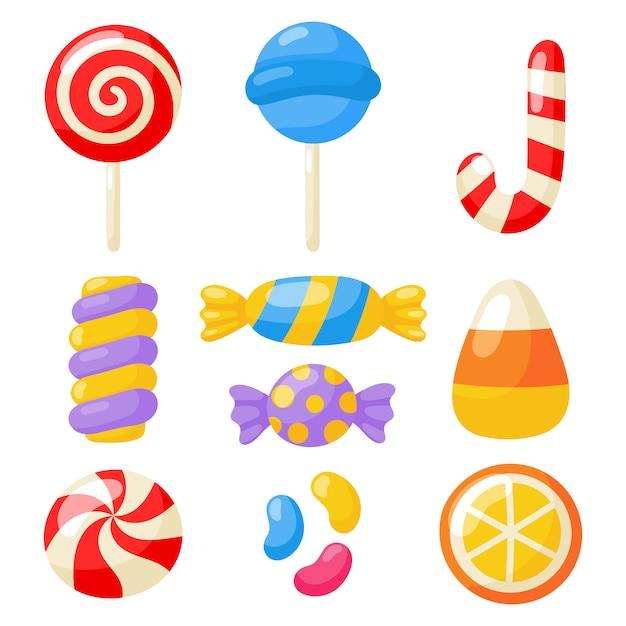 Kawaii süß pastell set süßigkeiten süßigkeiten desserts mit verschiedenen arten, isoliert auf weiss Premium Vektoren