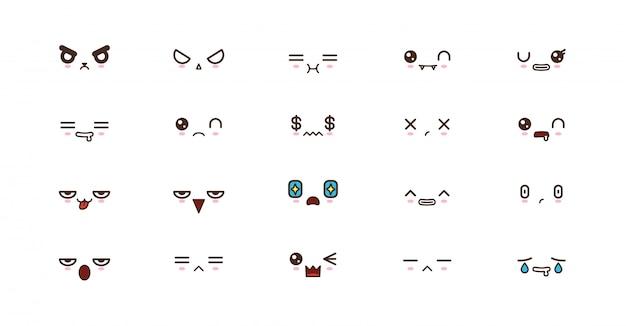 Kawaii süße gesichter lächeln emoticons. japanisches emoji Premium Vektoren