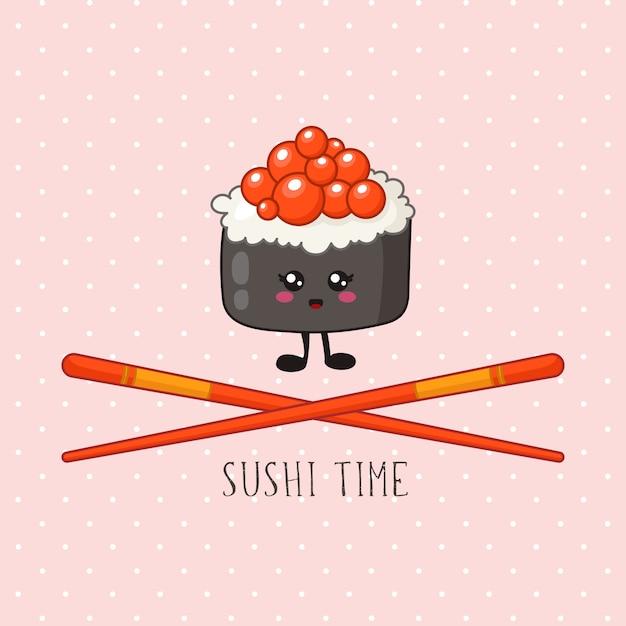 Kawaii sushi, rolle und essstäbchen - logo oder fahne auf farbigem hintergrund, traditionelle japanische küche Premium Vektoren