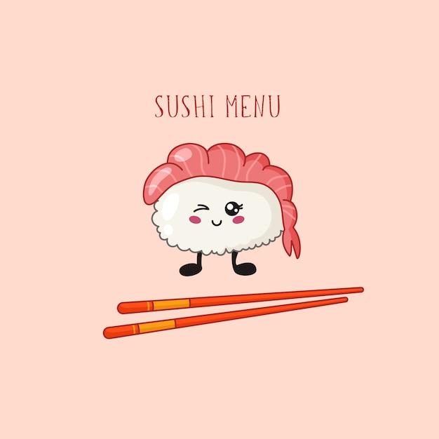 Kawaii sushi, rollenlogo oder fahne auf farbiger, traditioneller japanischer oder asiatischer küche und lebensmittel Premium Vektoren