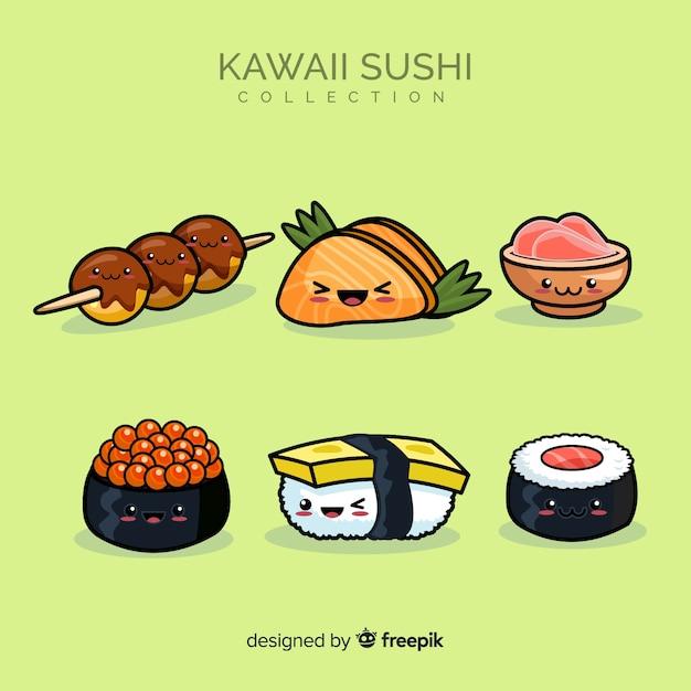 Kawaii sushi-sammlung Kostenlosen Vektoren