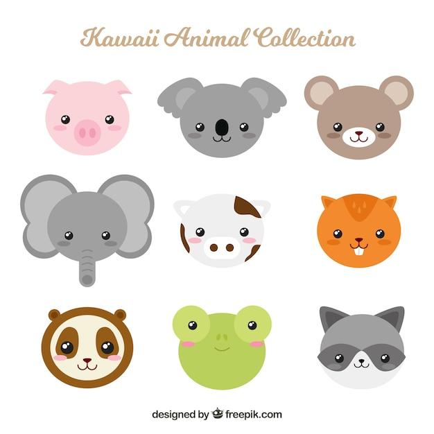 Kawaii tier gesetzt in flachem design Kostenlosen Vektoren