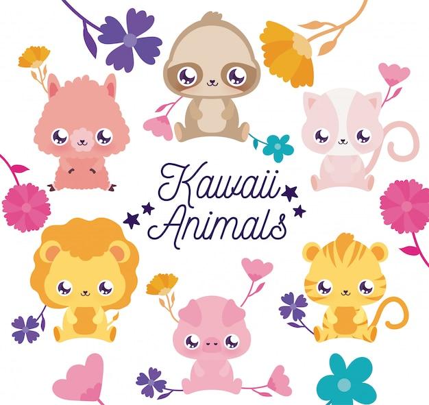 Kawaii tiere cartoons und blumen Premium Vektoren