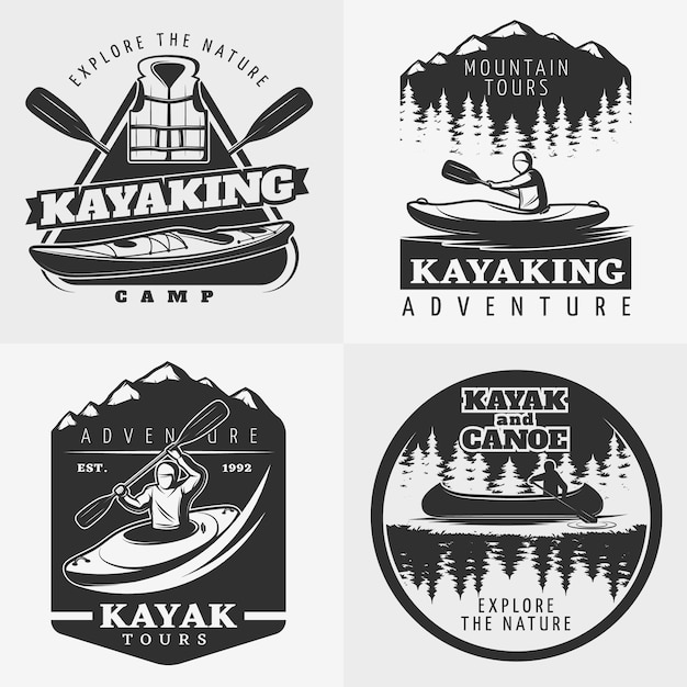 Kayaking adventure logo zusammensetzung Kostenlosen Vektoren