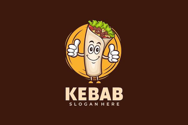 Kebab logo design vorlage im maskottchen-stil Premium Vektoren