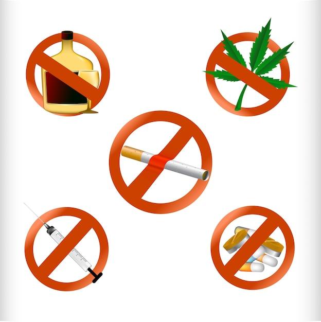 Kein drogenverbot Premium Vektoren