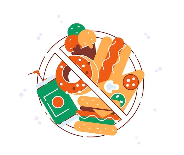 Kein fast food. fast-food-produkte mit verbotsschild. hamburger, soda, pizza, donut. Premium Vektoren