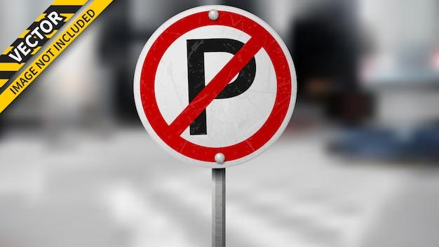 Kein parkverkehrszeichen auf unscharfem hintergrund Premium Vektoren