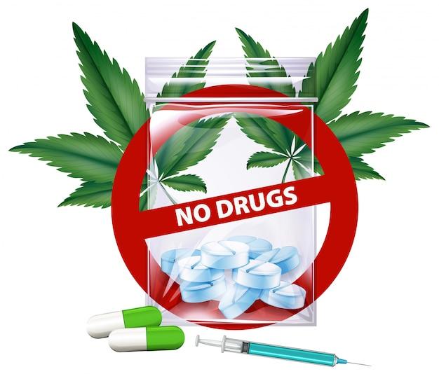 Keine drogen unterzeichnen mit marihuanablättern Premium Vektoren
