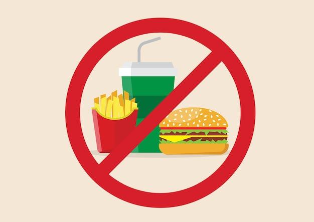 Keine fast-food-gefahr Premium Vektoren