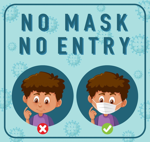 Keine maske, kein eintrittsschild mit zeichentrickfigur Premium Vektoren