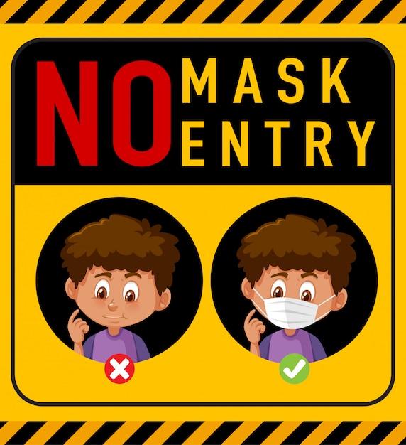Keine maske, kein eintrittswarnschild mit zeichentrickfigur Premium Vektoren