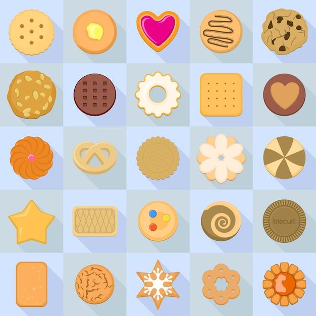 Keks-icon-set. flacher satz keksikonen für webdesign Premium Vektoren